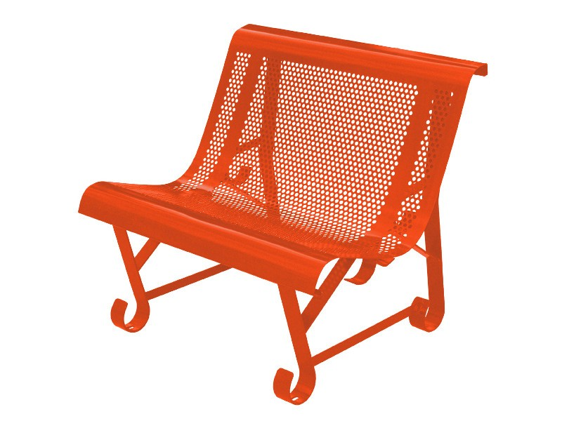 banc, fauteuil de jardin en fer, made in France, couleur orange